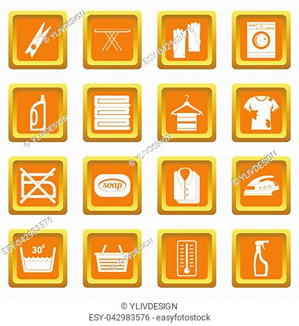 Laundry icons set in orange color isolated illustration for web and any design