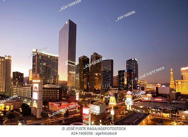 USA-Nevada-Las Vegas City-The Strip Avenue-The City Center Skyline-Sunset