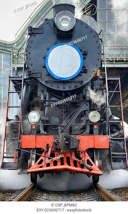 LVIV, UKRAINE - DECEMBER, 2015: Old Soviet vintage black retro train L-3535 at the railway station in Lviv