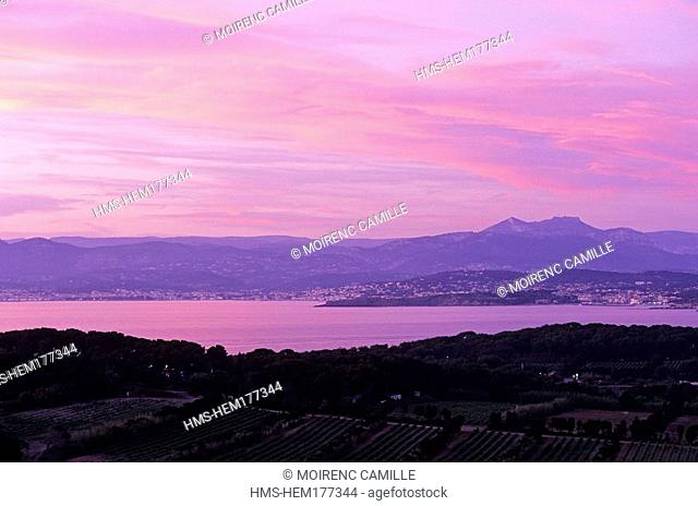 France, Var, Ile des Embiez, Bandol and Sanary in the background