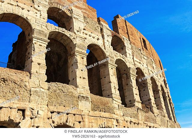 Exterior of the Roman Colosseum also known as the Flavian Amphitheater, Rome, Italy