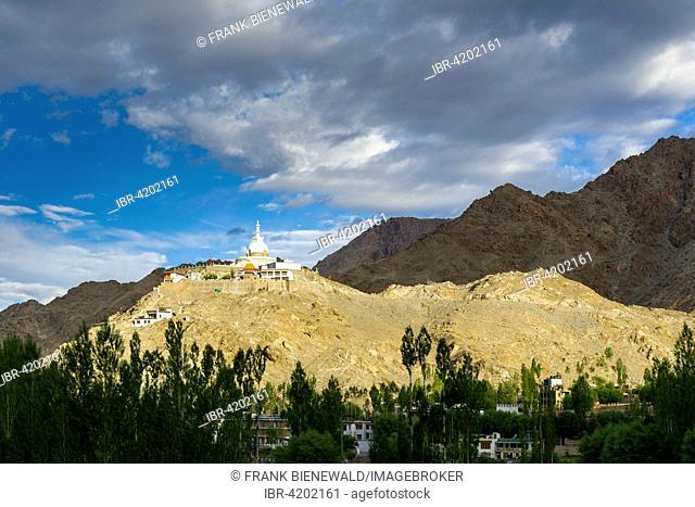 Japanese Stupa, erected in 1991, on a mountain ridge high above the village Changspa, Leh, Jammu and Kashmir, India