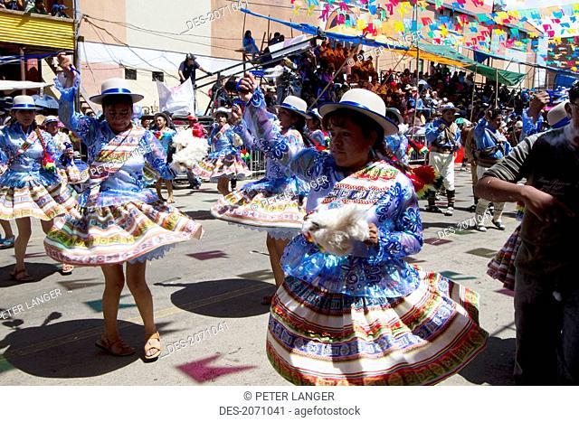 Llamerada Dancers In The Procession Of The Carnaval De Oruro, Oruro, Bolivia