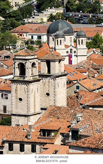 Towers and rooftops, Kotor, Dalmatia, Montenegro