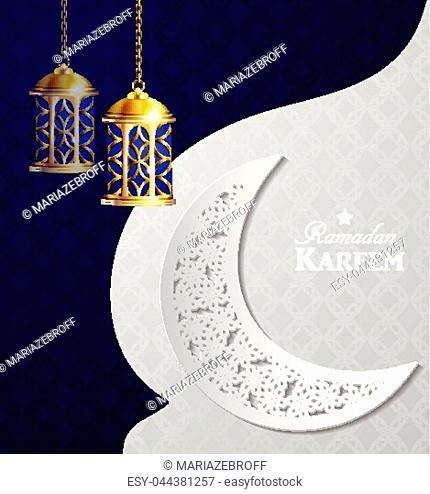 Vector illustration magic glass lights on dark background in paper window with arabic swirls paper cut ornaments vector