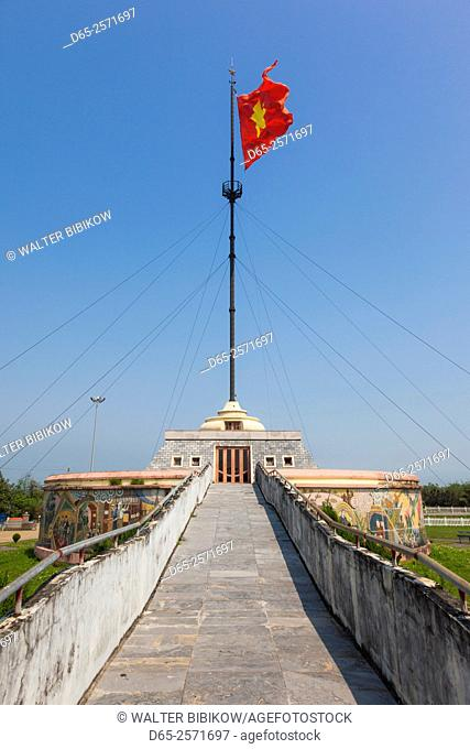 Vietnam, DMZ Area, Quang Tri Province, Ben Hai, war memorial at site of former north and south Vietnam border post, flag tower