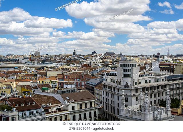 Aerial view of a white building from Cibeles Palace, Madrid city, Spain