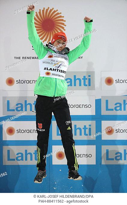 German world champion Carina Vogt celebrates at the FISNordic World Ski Championships 2017 in Lahti, Finland, 24 February 2017