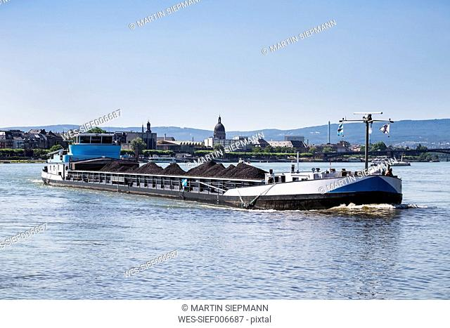 Germany, Rhineland-Palatinate, Mainz, coal fraighter on Rhine river