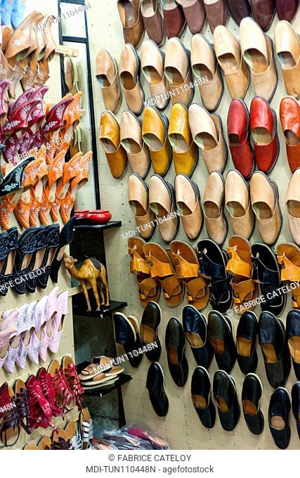 Tunisia - Jerba - Hount-Souk - Turkish slippers in the souks