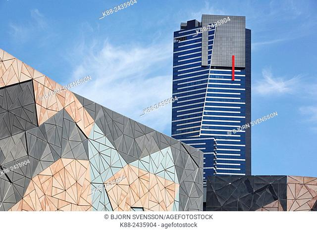 Two Melbourne landmarks, the Federations square building with Eureka Tower in the background. Melbourne, Victoria, Australia