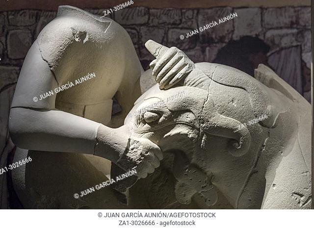 Jaen, Spain: Griphomaquia, sculptore group made of calcarenite, Cerrillo Blanco, Porcuna at Iberian Museum of Jaen