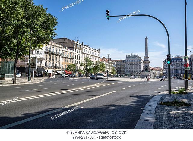 Restauradores Square and Liberty Avenue,, Lisbon, Portugal