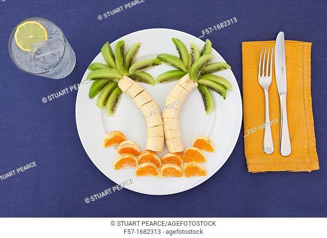 Exotic summertime fruit plate