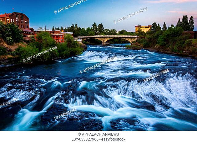 Spokane Falls at sunset, in Spokane, Washington