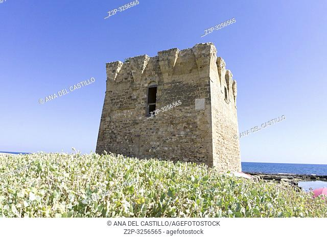 Coast of the Adriatic sea in San Vito Polignano al Mare Puglia Italy on July 12, 2018. The medieval tower