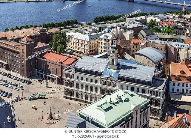 View over Riga to the town Hall Square. The Town Hall of Riga is a new building with neoclassicist facade. It was completed in the year 2003, Riga, Latvia