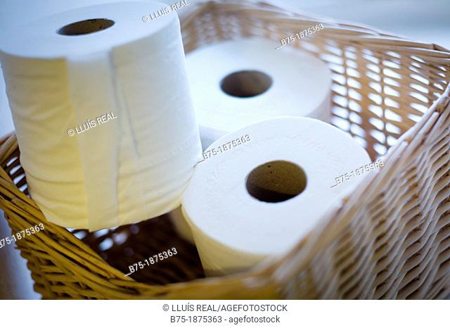 basket with three rolls of toilet paper