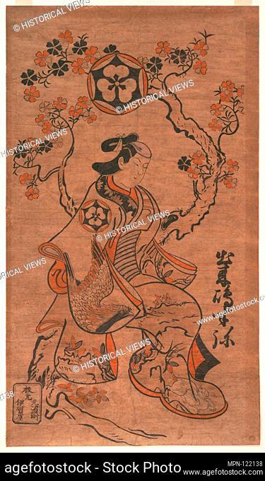 Dekishima Hanya Seated on a Cherry Tree. Artist: Torii Kiyonobu (Japanese, 1664-1729); Period: Edo period (1615-1868); Date: ca