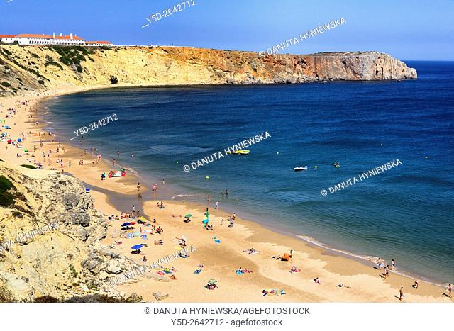 Portugal, Algarve, Faro district, Costa Vicentina, Sagres, coastline seen from Fortaleza de Sagres, down Praia da Mareta - Mareta Beach