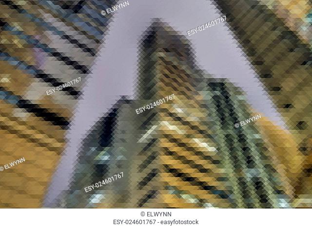 Mosaic city scenery of Hong Kong, concept of urban background