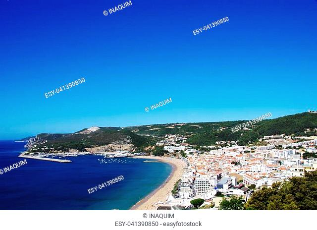 view of Sesimbra beach in Portugal