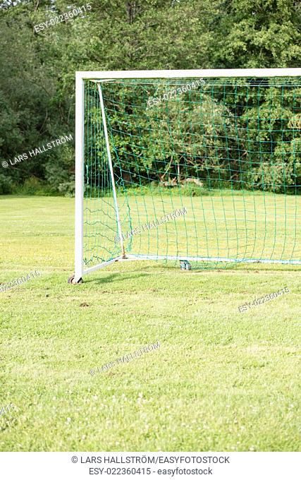 Empty football (soccer) goal in park with green grass and trees. Copyspace