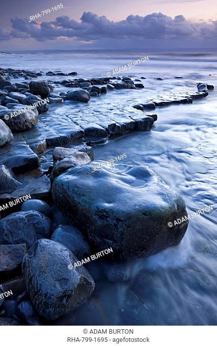 Rocky shore of Nash Point at twilight, Glamorgan Heritage Coast, Wales, United Kingdom, Europe
