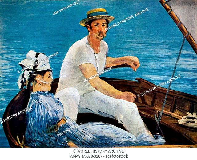 Painting titled 'Boating' by Édouard Manet (1832-1883) a French painter. Dated 19th Century