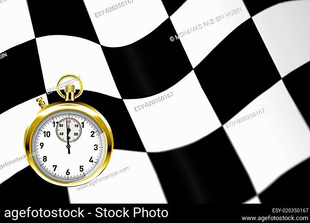 stopwatch and racing flag