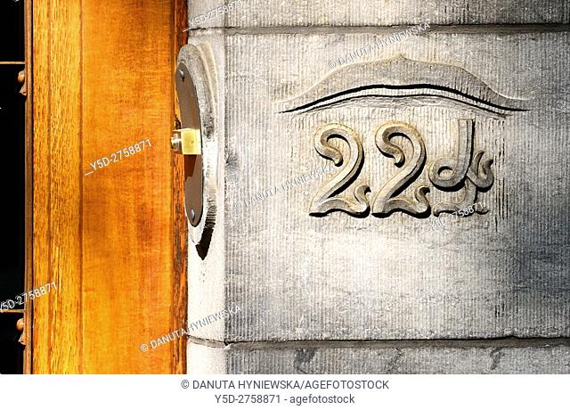 Close-up of entrance to building located at 224 Avenue Louise in Brussels, part of front facade - Art Nouveau Hotel Solvay - house designed by Victor Horta...