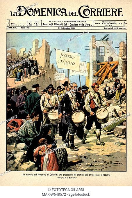 LA DOMENICA DEL CORRIERE 'Un episodio del terremoto di Calabria: una processione di affamati che chiede pane e ricovero'