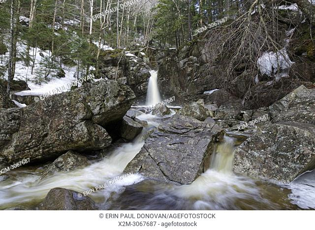 Kinsman Falls on Cascade Brook in Lincoln, New Hampshire during the spring months. These falls are located along the Basin-Cascades Trail