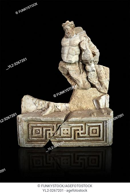 Roman Sebasteion relief sculpture of Herakles or Hercules Drunk Aphrodisias Museum, Aphrodisias, Turkey. Against a black background.