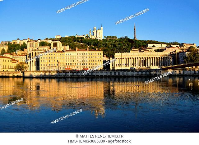 France, Rhone, Lyon, historical site listed as World Heritage by UNESCO, Old Lyon, River Saone banks, Saint Jean Cathedral