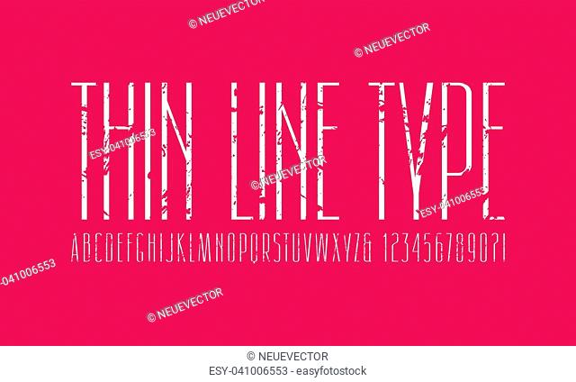 Narrow sans serif font. Thin line typeface. Letters and numbers with rough texture for logo and title design. White print on pink background