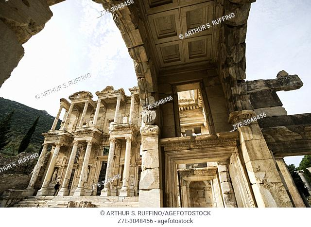 Library of Celsus façade. View from Gate of Mazeus and Mythridates. Ephesus, UNESCO World Heritage Site, Selçuk, Izmir Province, Ionia Region, Turkey, Eurasia
