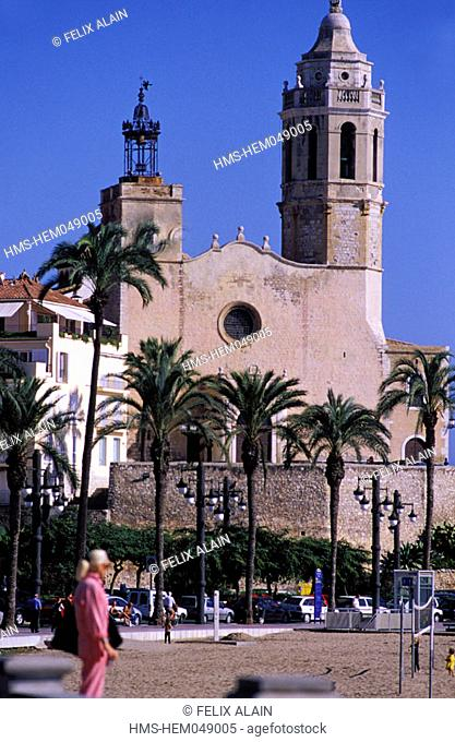 Spain, Catalonia, Costa Dorada, Sitges church