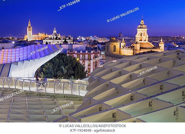 Top of Metropol Parasol, the cathedral and Asunción church,from Plaza de la Encarnación,Sevilla,Andalucía,Spain