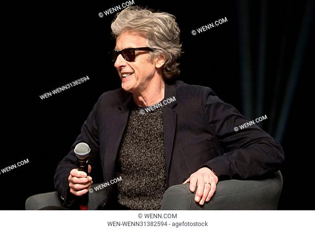 Peter Capaldi discussing his experiences on 'Dr Who' during a spotlight panel discussion at the Calgary Comic & Entertainment Expo