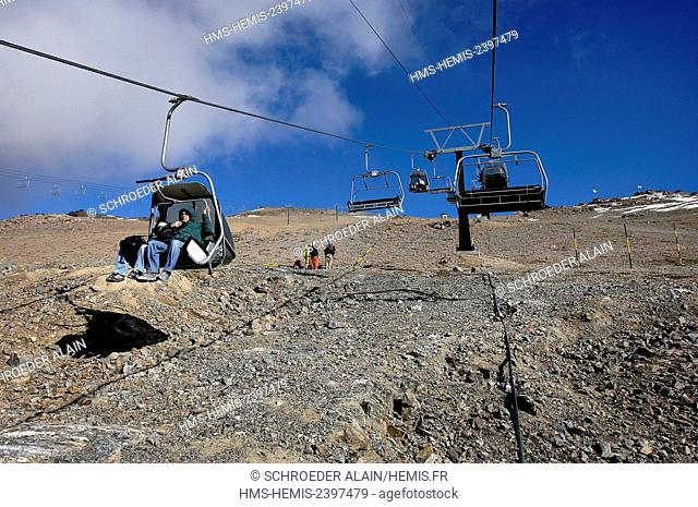 Argentina, Rio Negro province, San Carlos de Bariloche, ski lift of the ski resort, usually known as Bariloche, it is a city situated in the foothills of the...