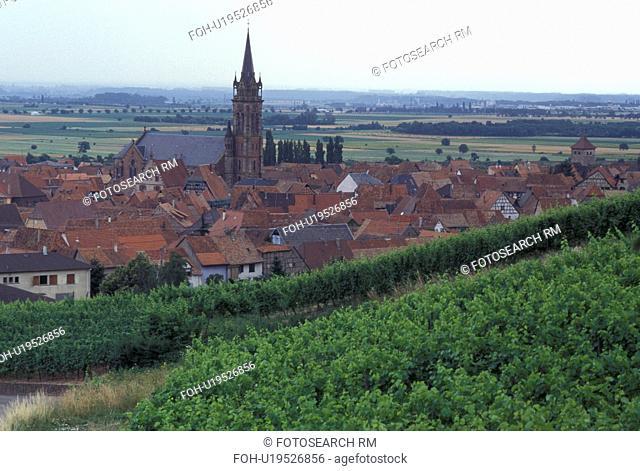 France, Alsace, Dambach-la-Ville, Bas-Rhin, Europe, wine region, Picturesque village of Dambach-la-Ville surrounded by vineyards in the wine region of Alsace