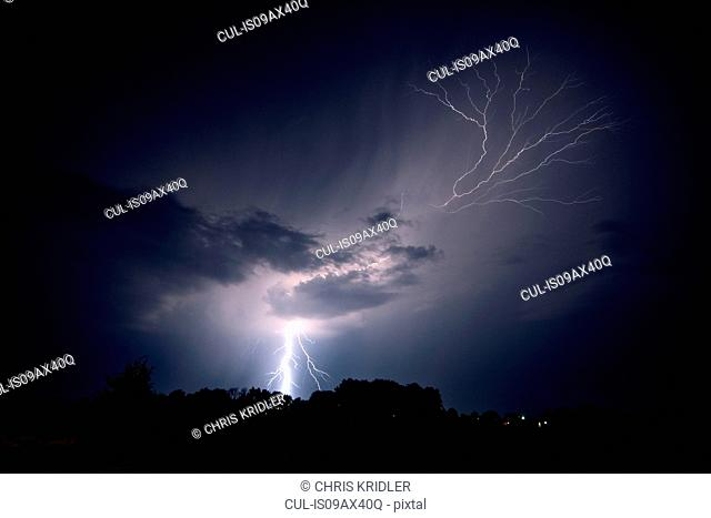 Lightning strikes the ground and spreads into the sky as a lightning crawler nears Jeanette, Arkansas, USA