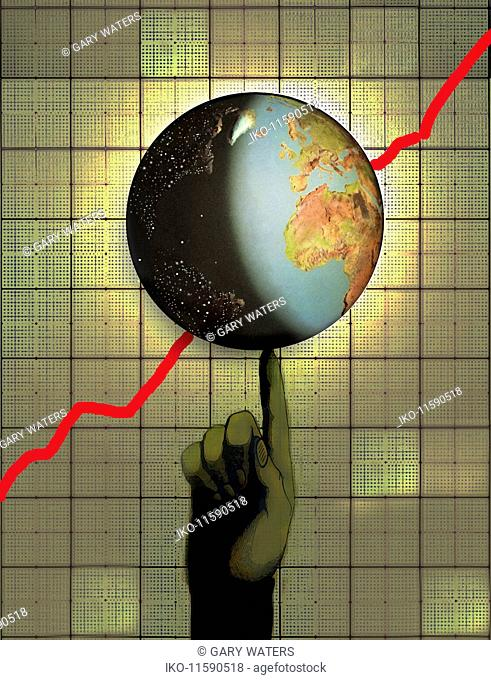 Globe with ascending line graph balancing on finger