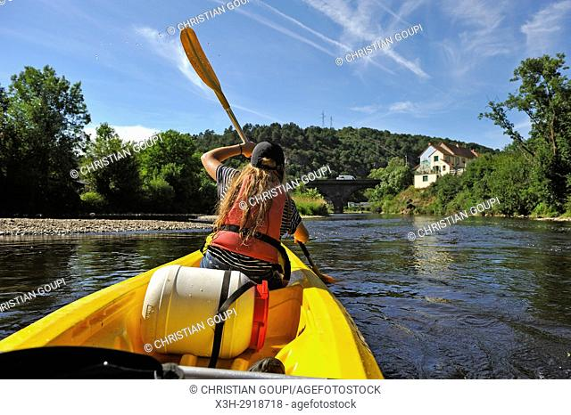 canoeing on the Sioule River near Menat, Puy-de-Dome department, Auvergne-Rhone-Alpes region, France, Europe