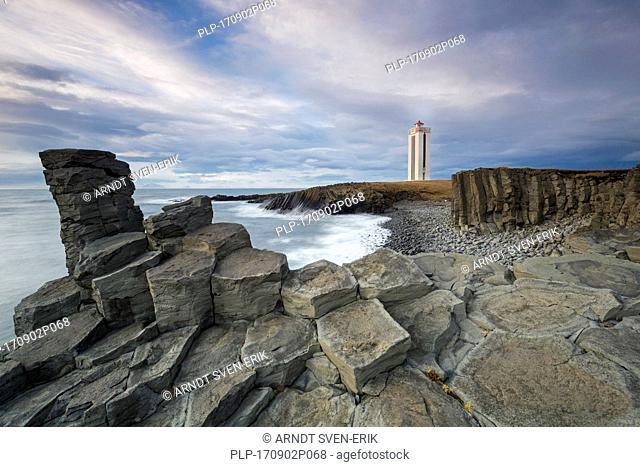 Basalt columns and the Kálfshamarsvík lighthouse near Skagaströnd on the Skagi peninsula, North Iceland