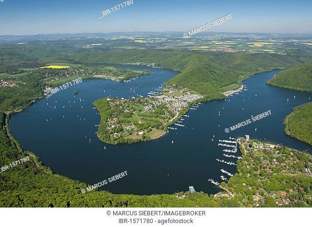 Scheid Peninsula, Edersee lake, Rehbach, Kellerwald National Park, North Hesse, Germany, Europe
