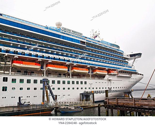 A large cruise ship at dock in Ketchikan, Alaska