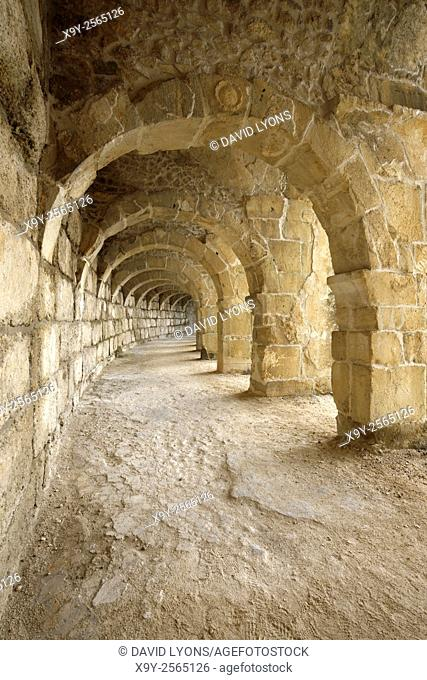 Roman theatre in ancient Greco-Roman city of Aspendos, southern Turkey. Arches of the colonnaded gallery of the highest level