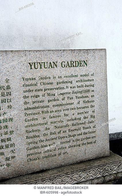 Board in the Yuyuan Garden, Shanghai, China, Asia